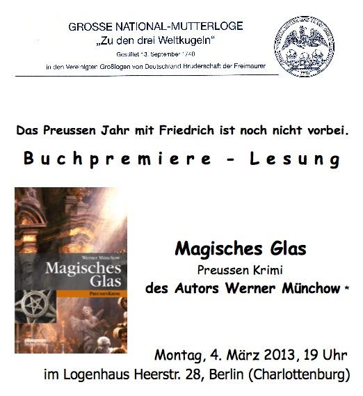 Lesung Magische Glas Preussen Krimi Autor Werner Münchow Logenhaus Berlin
