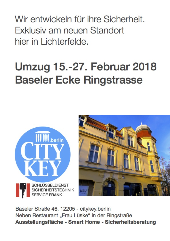 Plakat City Key Berlin Umzug Baseler Ringstr.pages Schluesseldienst Frank Lichterfelde