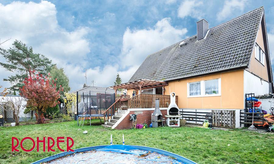 Rückansicht 2018 0801 Haus 12349 Berlin Kauf Objekt ID 103064 O 56542 Einfamilienhaus Garten Keller Buckow Marienfelde