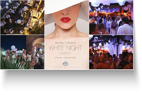 Sa. 11. August 2018 ab 20 Uhr – Die 5. große White Night Party in der Amber Suite auf der schönen Terrasse und in allen Bereichen des Clubs. Jetzt Preisvorteil sichern für e-concierge Gäste