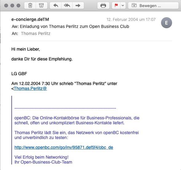 Thomas Perlitz Xing Einladung 2004 Open BC Netzwerk