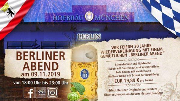 Berliner Abend feiern 30 Jahre Wiedervereinigung Hofbraeu Berlin Buffet