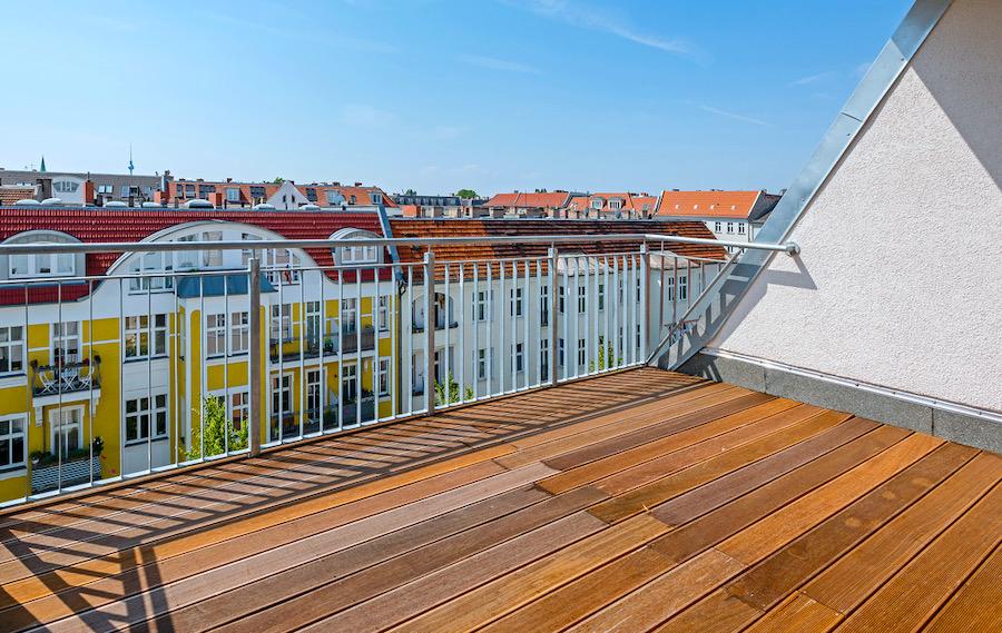 Panoramablick über Berlin von der Dachterrasse 2020 2301 Hochwertige 3-Zimmer-DG-Wohnung Erstbezug, Südterrasse mit Panoramablick, direkt am Prenzlauer Berg o-62925