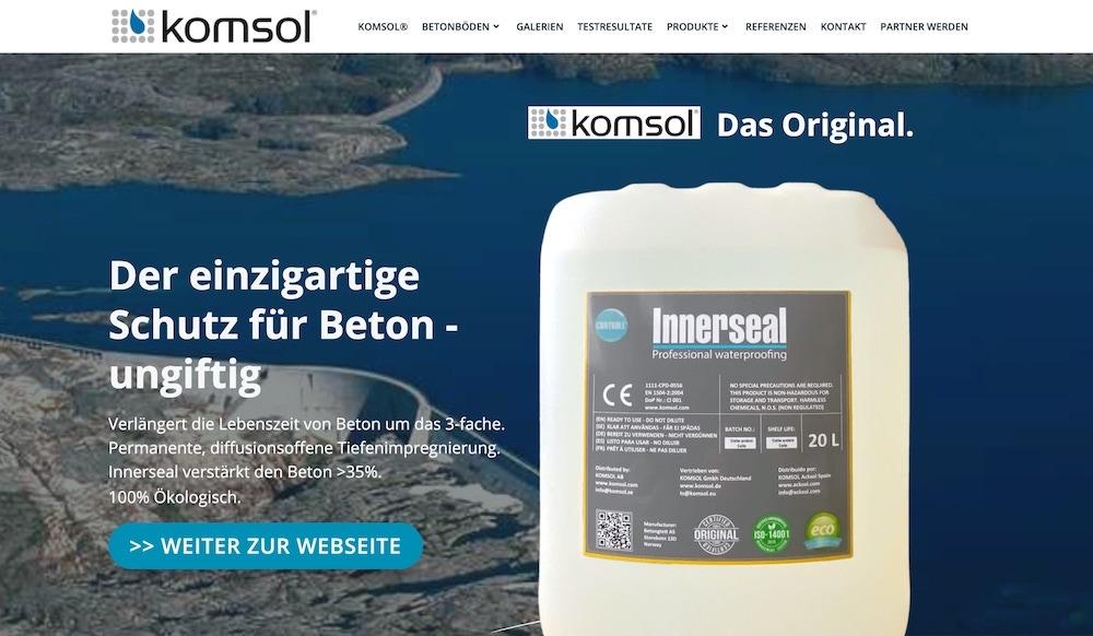 deeseo entwickelt Deutsche Webseite international schwedisch Unternehmen Beton versiegeln ungiftig