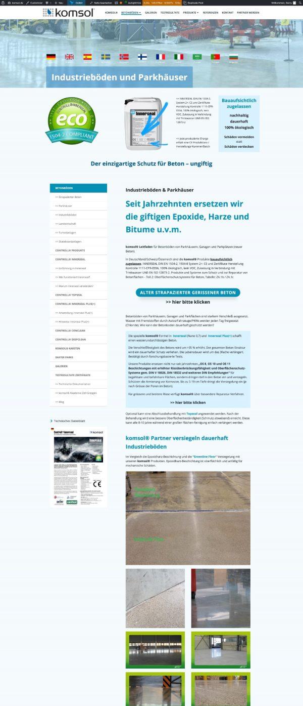 deeseo entwickelt Deutsche Webseite international schwedisch Unternehmen komsol® Beton versiegeln ungiftig